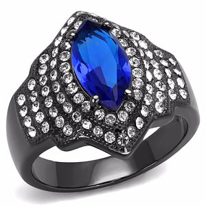 12x6mm Marquise Cut Royal Blue CZ Light Black IP Stainless Steel Cocktail Ring - LA NY Jewelry