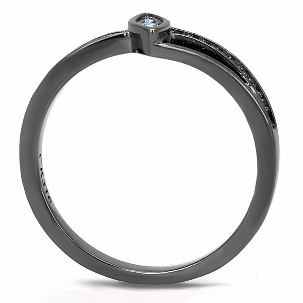 Sea Blue Crystal in Marquise Shape Light Black IP Stainless Steel Band - LA NY Jewelry