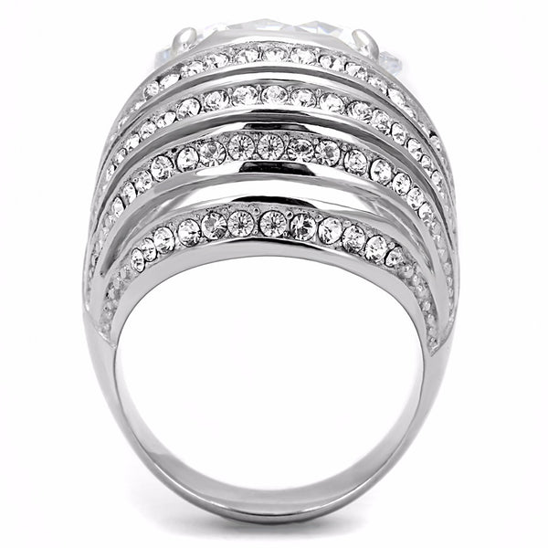 15x15mm Round Cut CZ Set in Non Tarnish Stainless Steel Womens Cocktail Ring - LA NY Jewelry