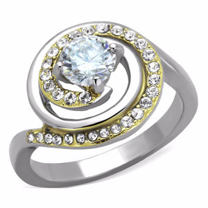 6x6mm Round Cut CZ Two-Tone Gold IP Stainless Steel Womens Bridal Ring - LA NY Jewelry