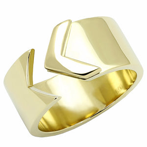Designer Arrow Look Gold IP 316 Stainless Steel Wide Band Ring - LA NY Jewelry