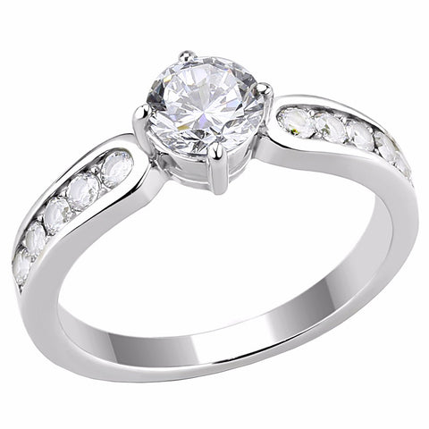 6x6mm Round Cut Clear CZ Center 316 Stainless Steel Promise Ring - LA NY Jewelry