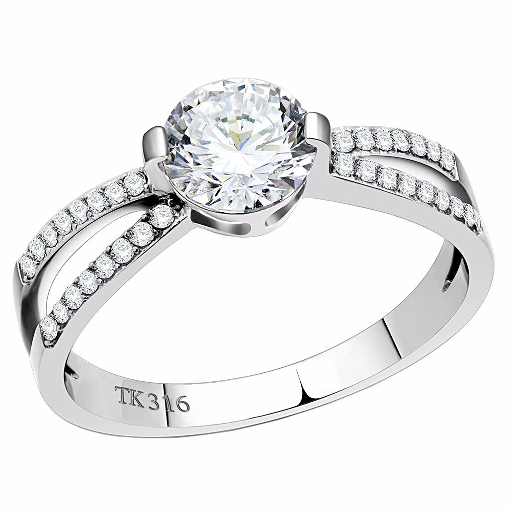 6.5x6.5mm Round Cut Clear CZ Center Set in Stainless Steel Delicate Ring - LA NY Jewelry