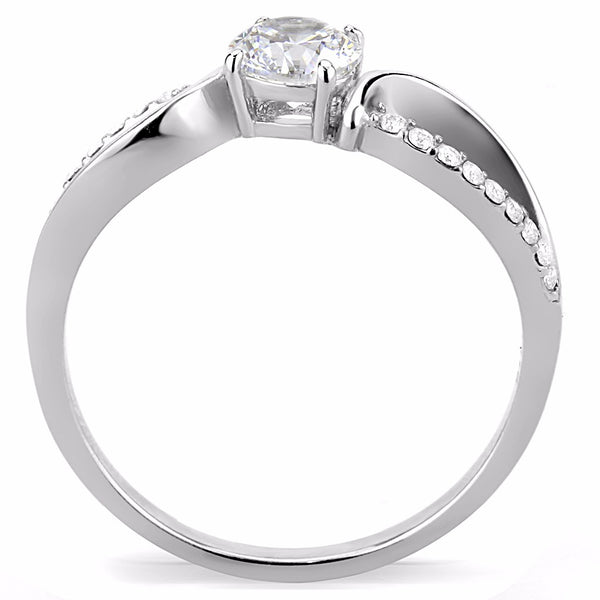 5x5mm Round Cut Clear CZ Center Set in Stainless Steel Delicate Ring - LA NY Jewelry
