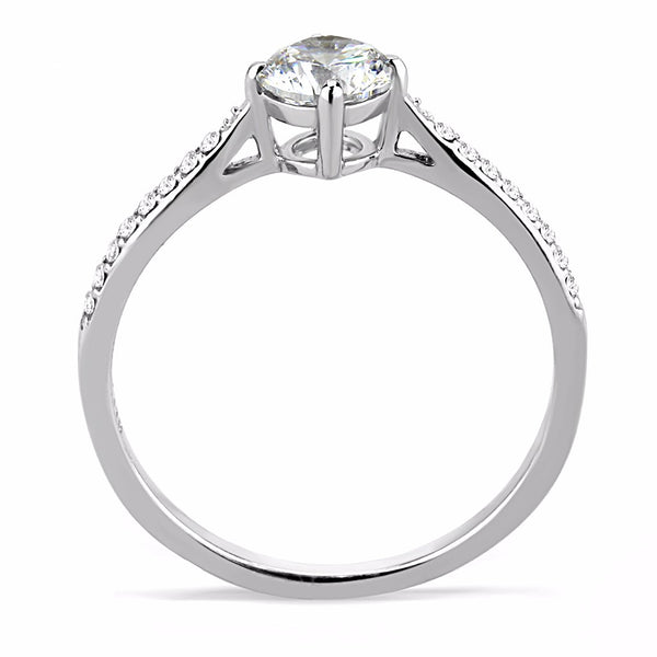 5x5mm Round Cut CZ Center Stainless Steel Small Delicate Ring - LA NY Jewelry