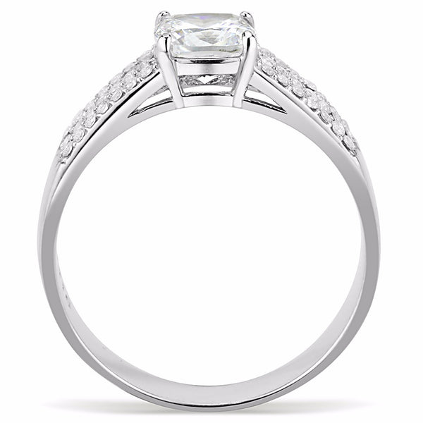 6x6mm Cushion Cut CZ Center Stainless Steel Delicate Ring - LA NY Jewelry
