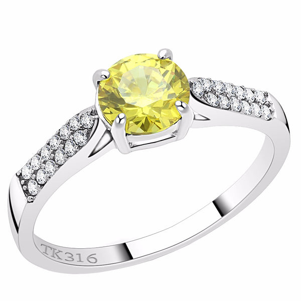 6x6mm Round Citrine CZ Center Stainless Steel Delicate Ring - LA NY Jewelry