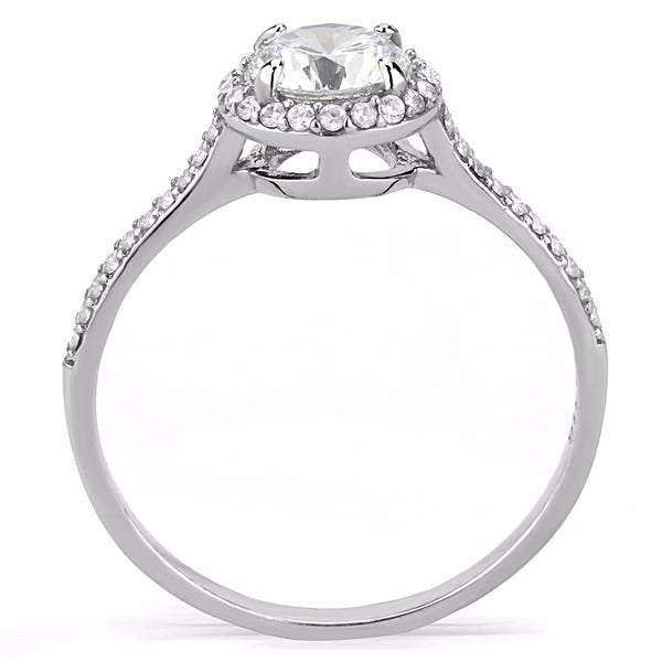 7x7mm Clear Round CZ Center Set in Stainless Steel Delicate Ring - LA NY Jewelry