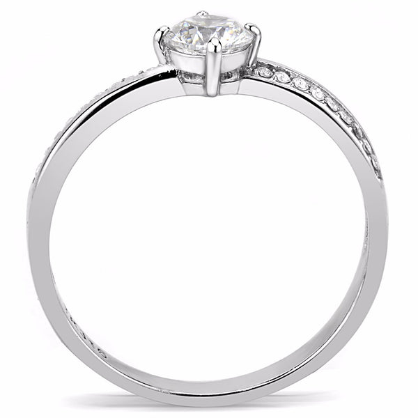 Classic 5x5mm Clear Round CZ Center Stainless Steel Delicate Small Ring - LA NY Jewelry