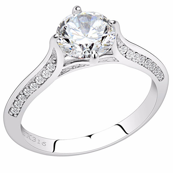 7x7mm Clear Round CZ Center Set in Stainless Steel Delicate Primise Ring - LA NY Jewelry