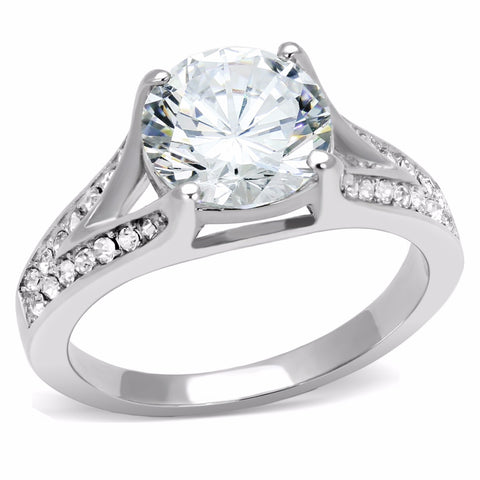 9x9mm Round Cut CZ Center 316 Stainless Steel Promise Ring - LA NY Jewelry