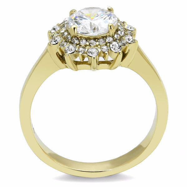 7x7mm Round CZ Flower Look Gold IP Stainless Steel Women's Ring - LA NY Jewelry