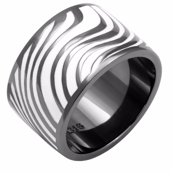 Zebra Stripe Light Black IP Stainless Steel 13mm Wide Band - LA NY Jewelry