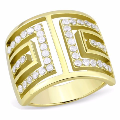 Top Grade Crystal Set in Gold IP Stainless Steel Wide Band Ring - LA NY Jewelry