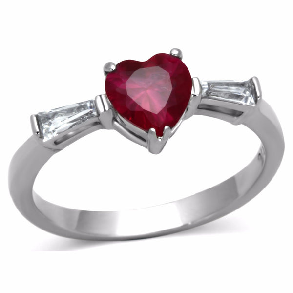 6x6mm Red Heart Cut CZ Center Womens Stainless Steel Promise Ring - LA NY Jewelry