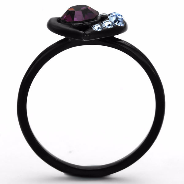 5x5mm Amethyst Round Crystal Heart Shape Black IP Stainless Steel Promise Ring - LA NY Jewelry