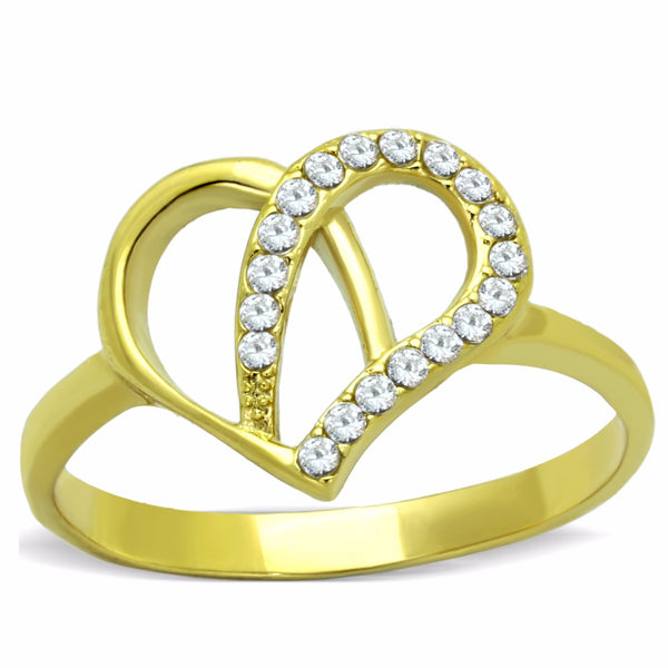 Women's Clear Round Cut CZ Heart Shape Gold IP Stainless Steel Ring - LA NY Jewelry