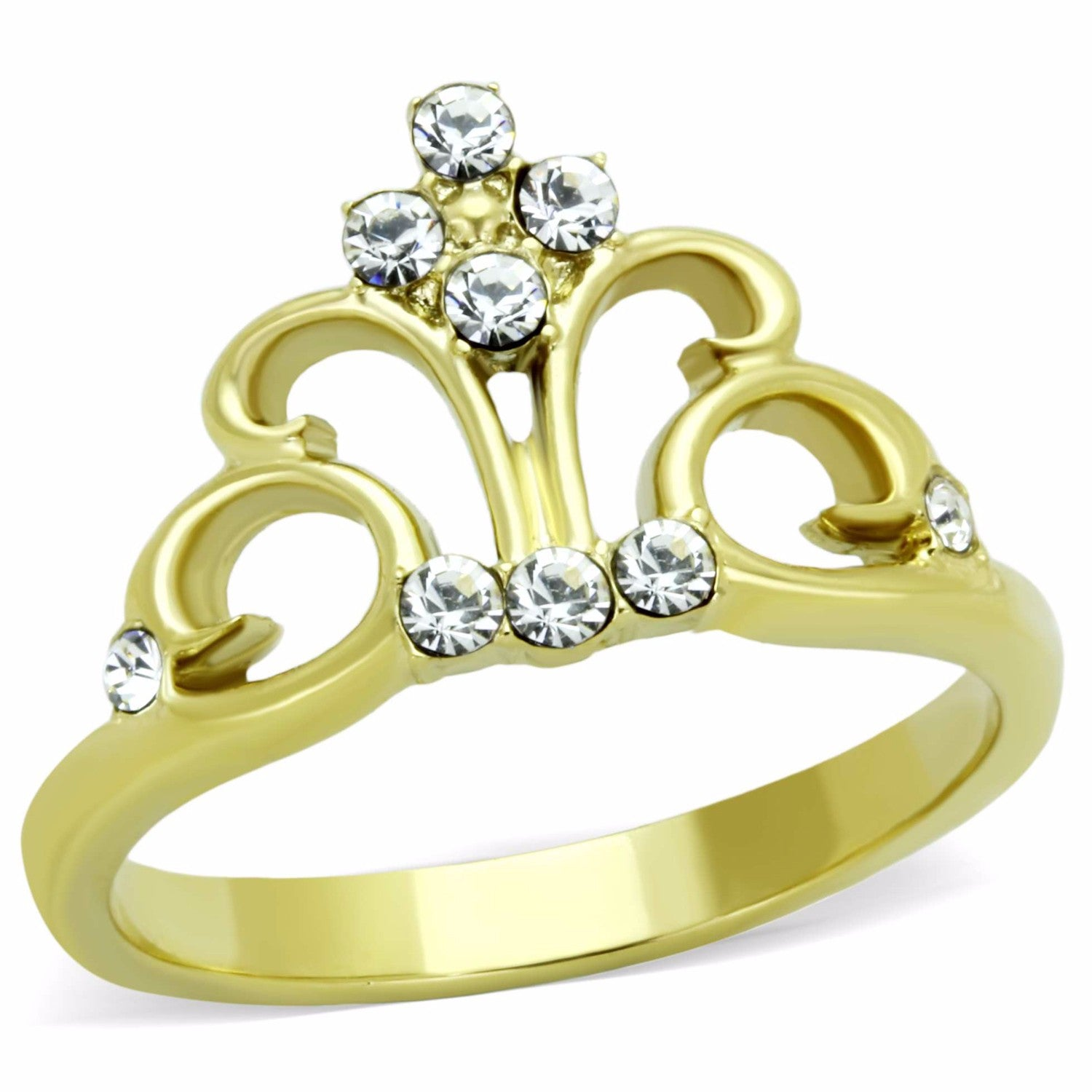 Women's Clear Round Cut CZ Crown Shape Gold IP Stainless Steel Ring - LA NY Jewelry