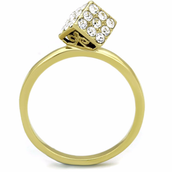 Women's Clear Round Crystal Dice Shape Gold IP Stainless Steel Ring - LA NY Jewelry