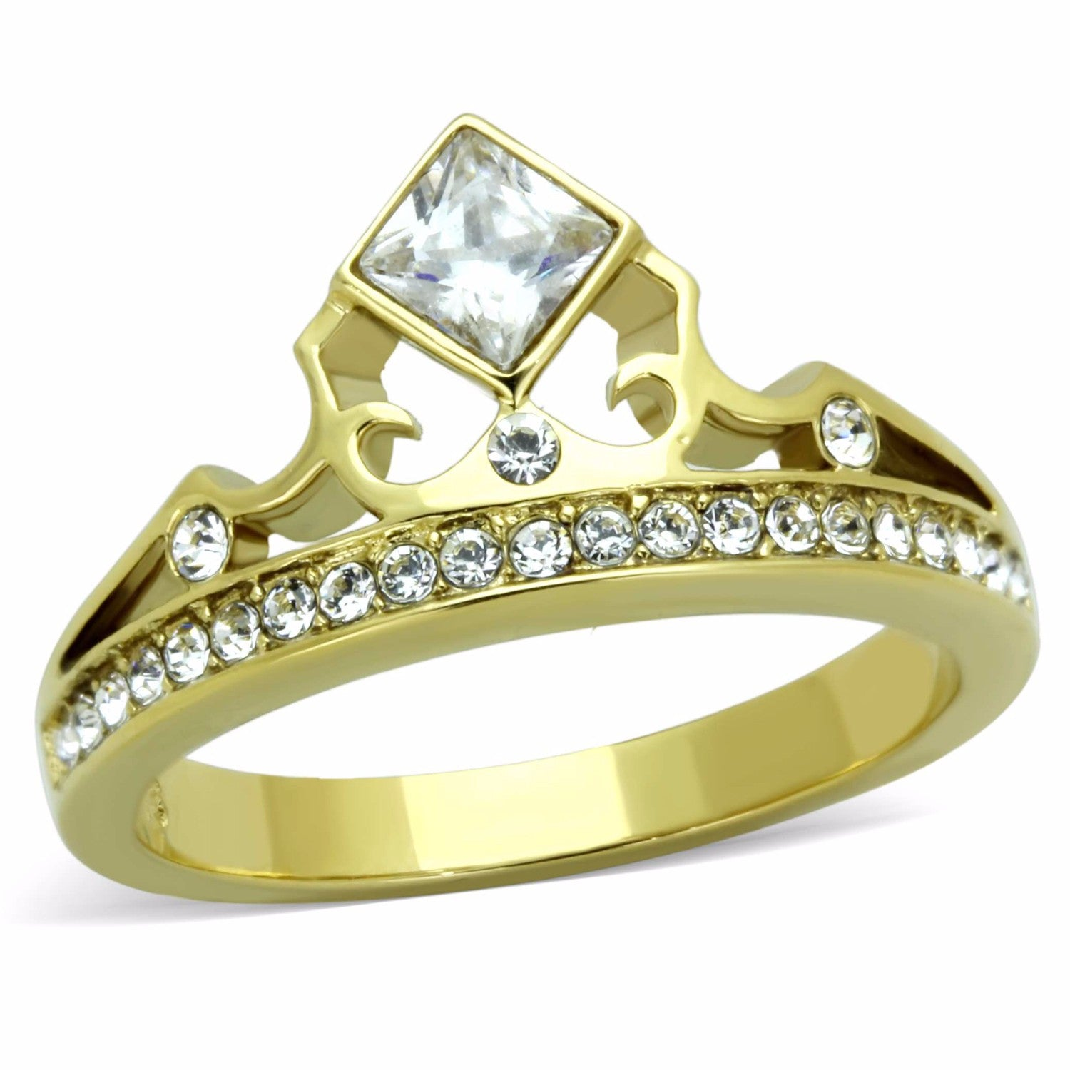 Women's Clear Princess CZ Crown Shape Gold IP Stainless Steel Ring - LA NY Jewelry