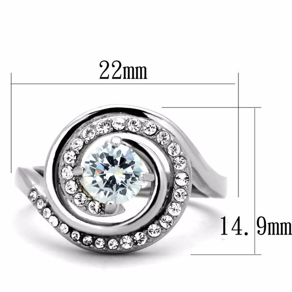 Women's 6x6mm Round CZ Center Swirl Shape Stainless Steel Ring - LA NY Jewelry