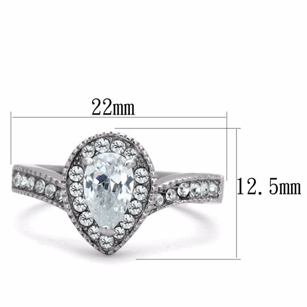 Women's 8x5mm Pear Cut CZ Center Stainless Steel Cocktail Ring - LA NY Jewelry