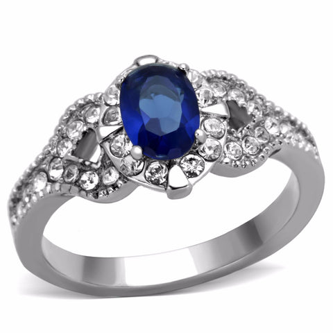 Women's 7x5mm Montana Blue Oval Cut CZ Center Stainless Steel Cocktail Ring - LA NY Jewelry