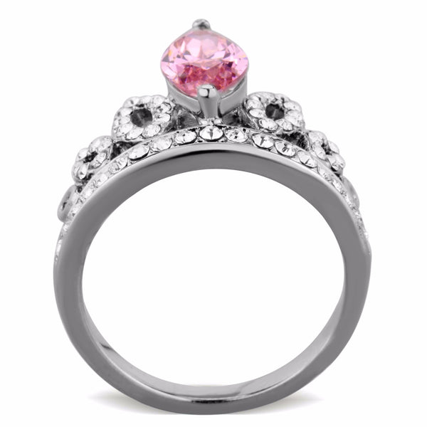 Women's 12x6mm Pink Marquise Cut CZ Center Crown Shape Stainless Steel Ring - LA NY Jewelry