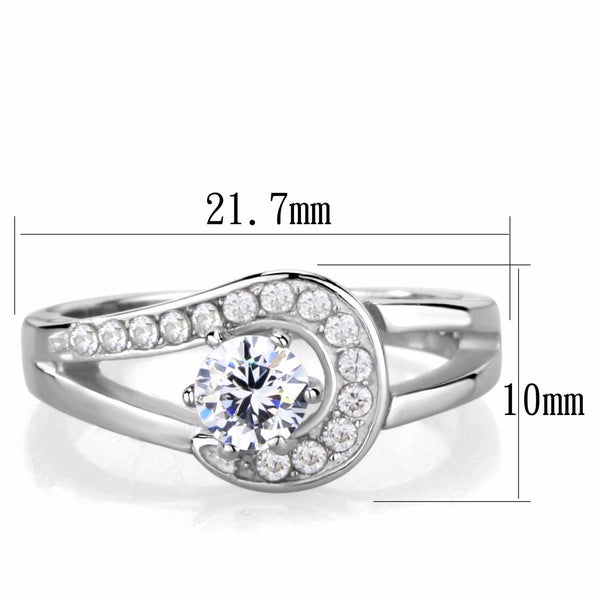 Women's 5x5mm Clear Brilliant Cut CZ Center Stainless Steel Wedding Ring - LA NY Jewelry