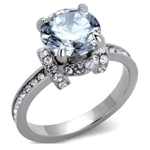 Women's Big 9x9mm Clear Brilliant Cut CZ Center Stainless Steel Wedding Ring - LA NY Jewelry