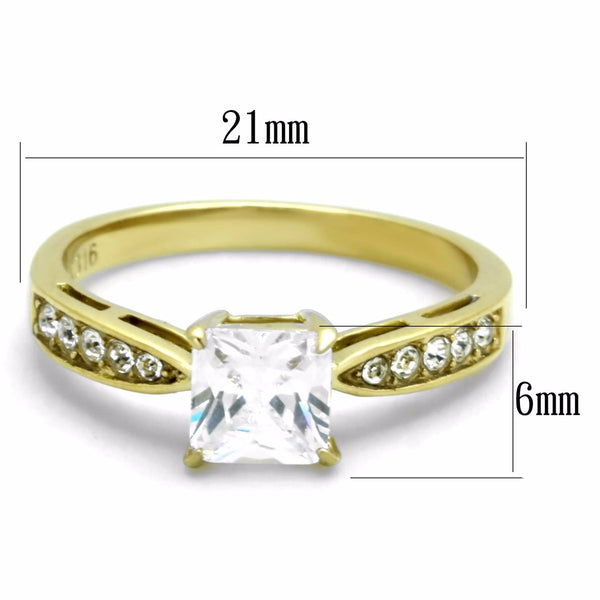 Women's 6x6mm Clear Princess Cut CZ Center Gold IP Stainless Steel Wedding Ring - LA NY Jewelry