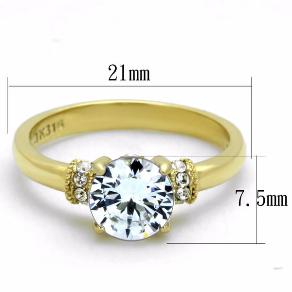 Women's 7x7mm Clear Round Cut CZ Center Gold IP Stainless Steel Wedding Ring - LA NY Jewelry