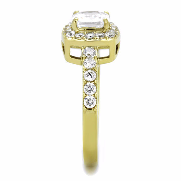 Women's 6x6mm Clear Cushion Cut CZ Center Gold IP Stainless Steel Cocktail Ring - LA NY Jewelry