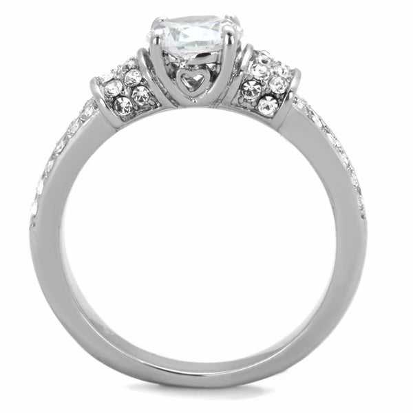 Women's 6x6mm Clear Round Cut CZ Center 316 Stainless Steel Bridal Ring - LA NY Jewelry
