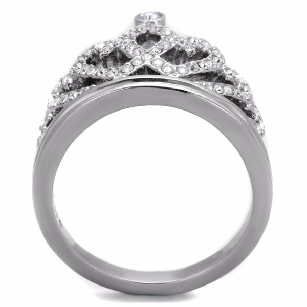 Women's Top Grade Clear Crystal 316 Stainless Steel Crown Ring - LA NY Jewelry