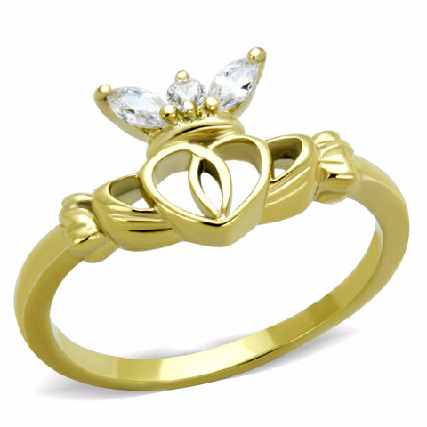 Women's Small Round and Marquise CZ Gold IP Stainless Steel Claddagh Ring - LA NY Jewelry