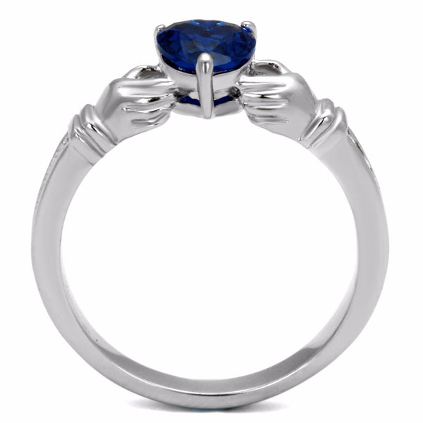 Women's 6x6mm Heart Cut London Blue CZ Stainless Steel Claddagh Ring - LA NY Jewelry
