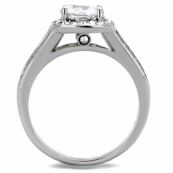 Women's 7x7mm Round Cut CZ Center Stainless Steel Bridal Ring - LA NY Jewelry