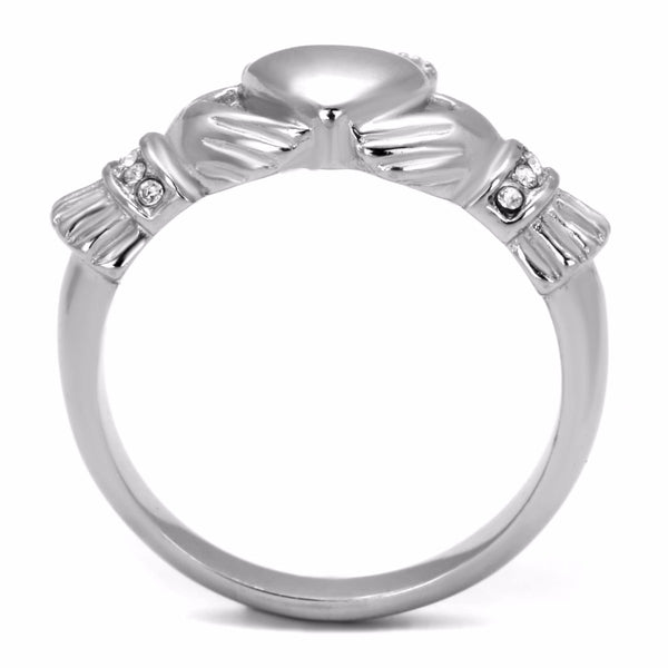 Top Grade Crystal in High Polish Stainless Steel Claddagh Ring - LA NY Jewelry