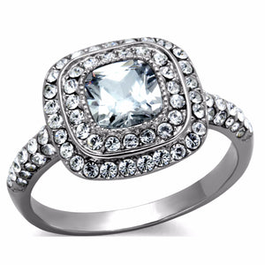 Women's 6x6mm Cushion CZ Center in Cushion Shape Stainless Steel Cocktail Ring - LA NY Jewelry