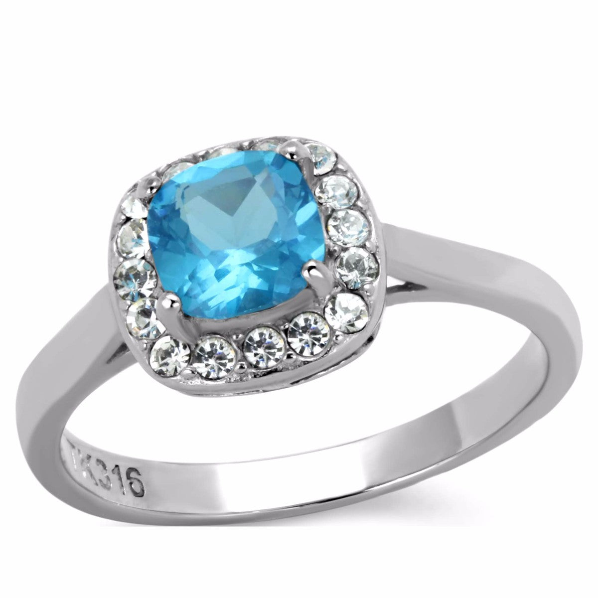 Women's 6x6mm Cushion Cut Sea Blue CZ Center Stainless Steel Cocktail Ring - LA NY Jewelry