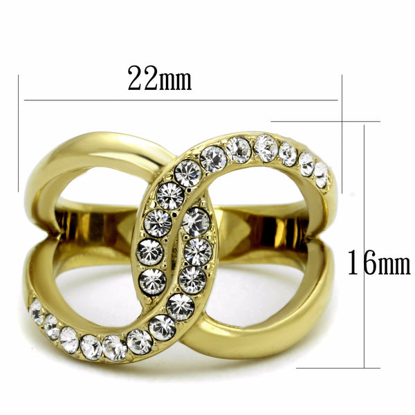 Top Grade Crystal in Two Big Links Gold IP Stainless Steel Fashion Band - LA NY Jewelry