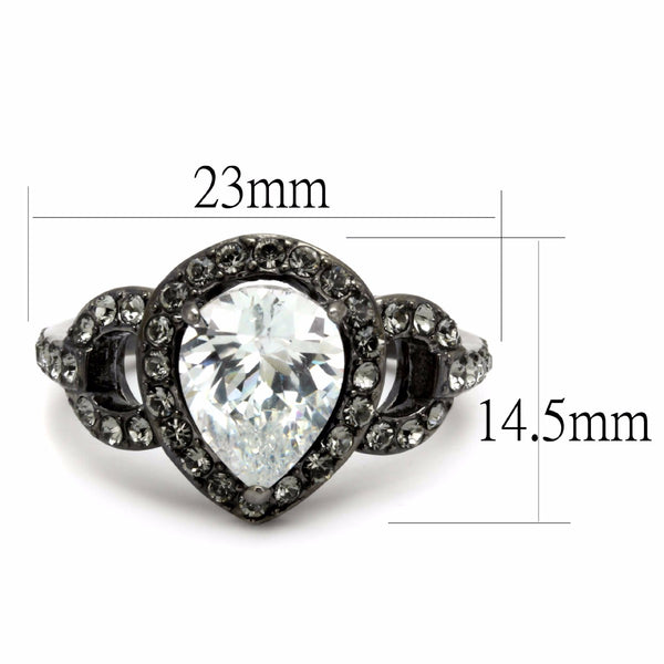 10x8mm Pear Cut CZ Light Black IP Stainless Steel Wedding Ring - LA NY Jewelry