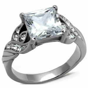 Big 8x8mm Princess Cut Clear CZ Stainless Steel Wedding Ring - LA NY Jewelry