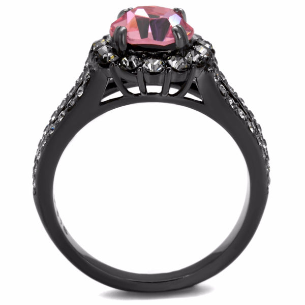 7.5x7.5mm Round Cut Light Pink CZ Light Black IP Stainless Steel Wedding Ring - LA NY Jewelry
