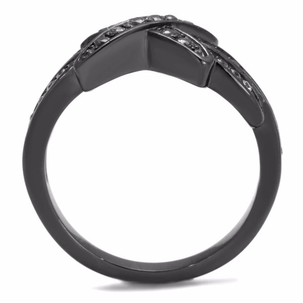 Clear CZ on X Cross Light Black IP (IP Gun) Stainless Steel Band - LA NY Jewelry