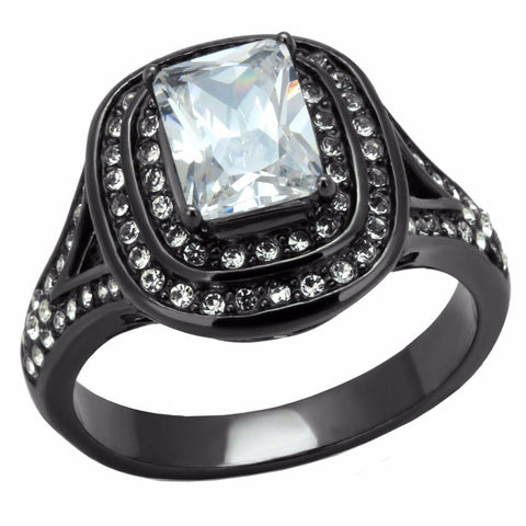 8x6mm Rectangle Cut CZ Light Black IP (IP Gun) Stainless Steel Cocktail Ring - LA NY Jewelry