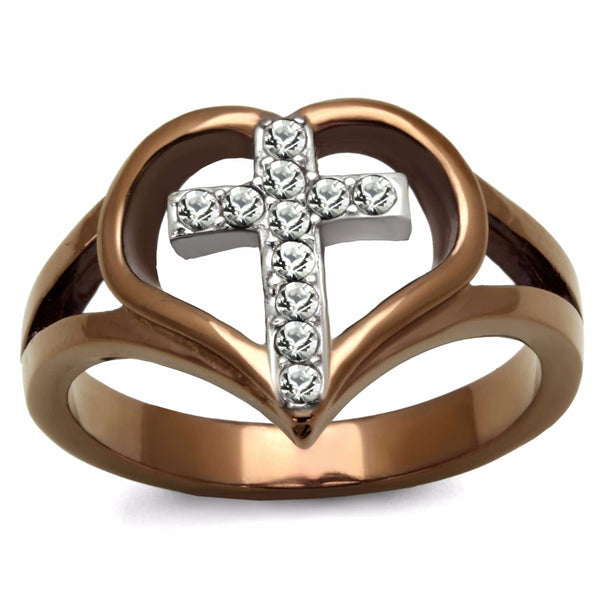 Top Grade Crystal Cross in Heart Two-Tone Light Coffee IP Stainless Steel Ring - LA NY Jewelry