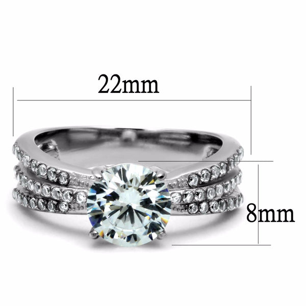 8x8mm Round CZ Center Three Side Rows Stainless Steel Bridal Ring - LA NY Jewelry