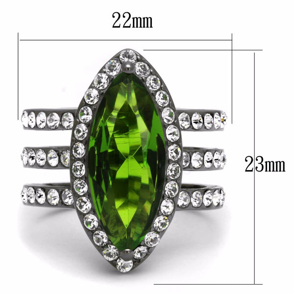 19x8mm Marquise Green CZ Three Side Rows IP Light Black Stainless Steel Ring - LA NY Jewelry